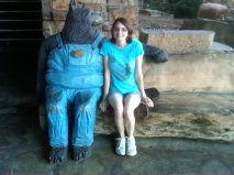 Me and an unidentified large bear, outside the Bass Pro Shop in Springfield, Missouri.