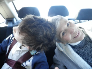 shaggy hair kidwith his lovey grandma