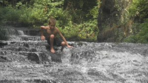 waterfall forest boy