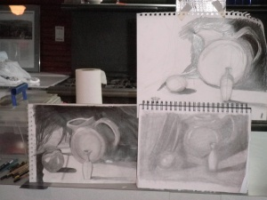 Sketches from art lesson #2, done with a 4H pencil.  Mine is on the bottom left - the darker one.  My teacher wants to put it in a beginners art show!