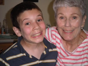 Jonah's hamming it up with grandma
