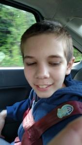 happy on car-ride